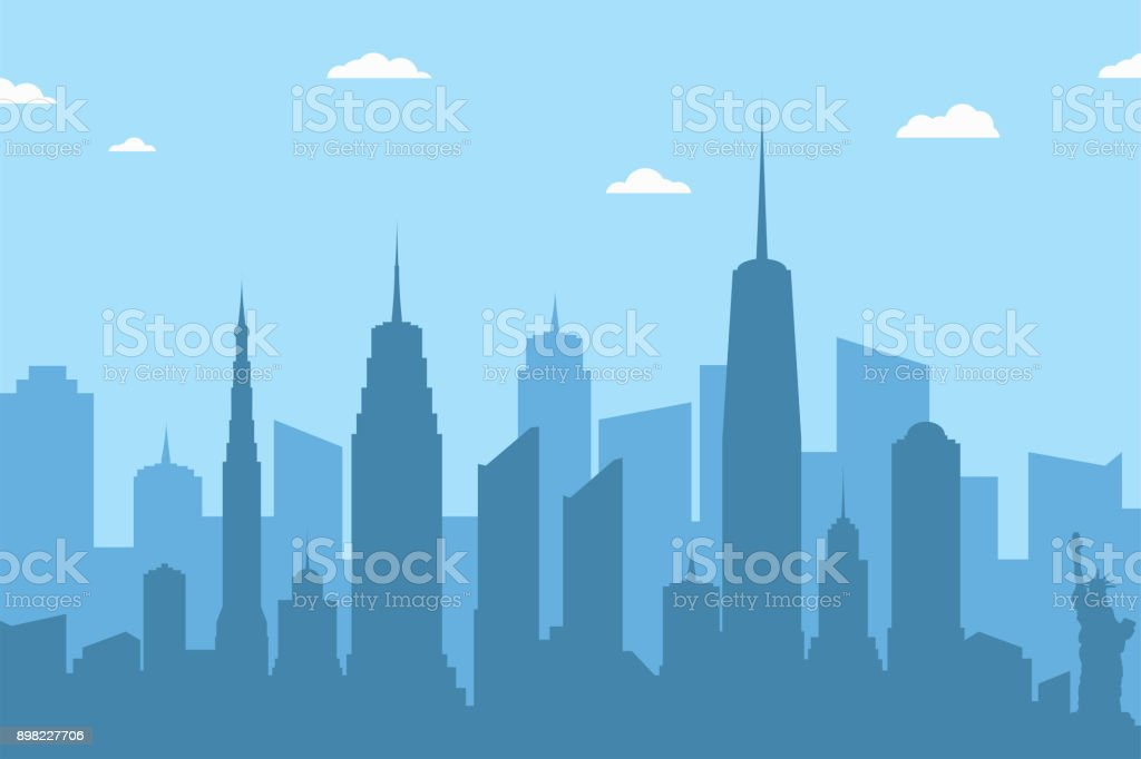 Cityscape silhouette background. Abstract city skyline with skyscrapers and clouds on blue background vector art illustration