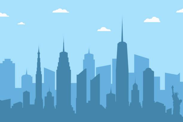illustrations, cliparts, dessins animés et icônes de arrière-plan de paysage urbain de silhouette. toits de la ville abstraite de gratte-ciels et nuages sur fond bleu - paysage urbain