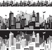 Cityscape siluette - very simple and easy to edit - ONLY 1 layer! 2 color versions, seamless