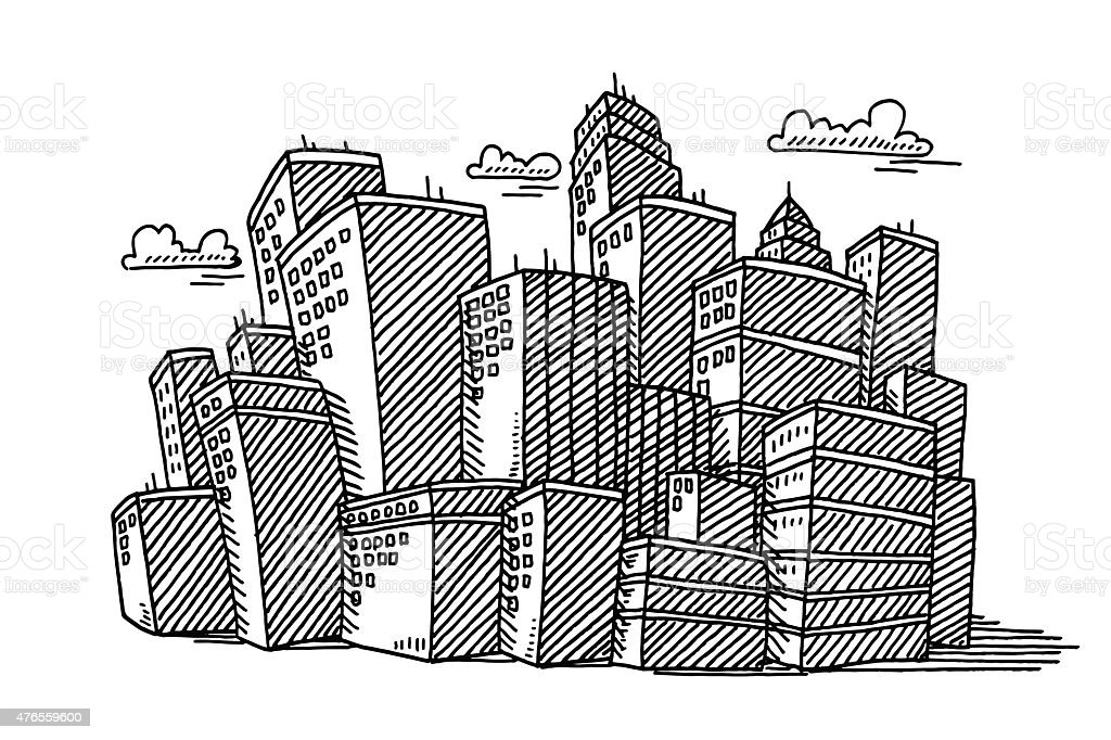 Cityscape Skyline Buildings Drawing Royalty Free Stock Vector Art Amp