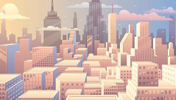 街並みの日の出 - 漫画の風景点のイラスト素材/クリップアート素材/マンガ素材/アイコン素材