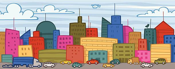 Cityscape & Traffic vector art illustration