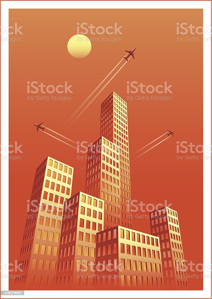 Cityscape Two Hot royalty-free stock vector art