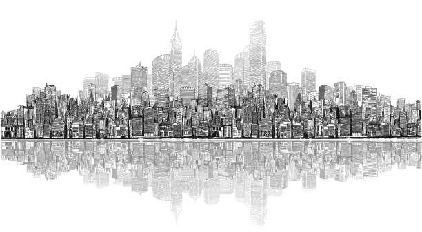 Cityscape A drawing of a large city downtown with high rise buildings. waterfront stock illustrations