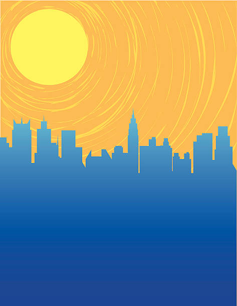 """Cityscape Cityscape with a retro """"silk-screen"""" sort of feel. EPS, layered PSD, High Resolution JPG included. Plenty of copy space. Could represent global warming concerns. heat wave stock illustrations"""
