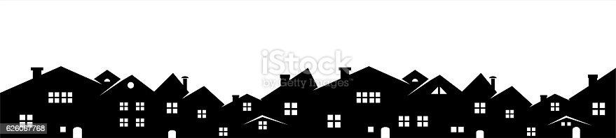 Cityscape, vector icon, background, black and white silhouette.