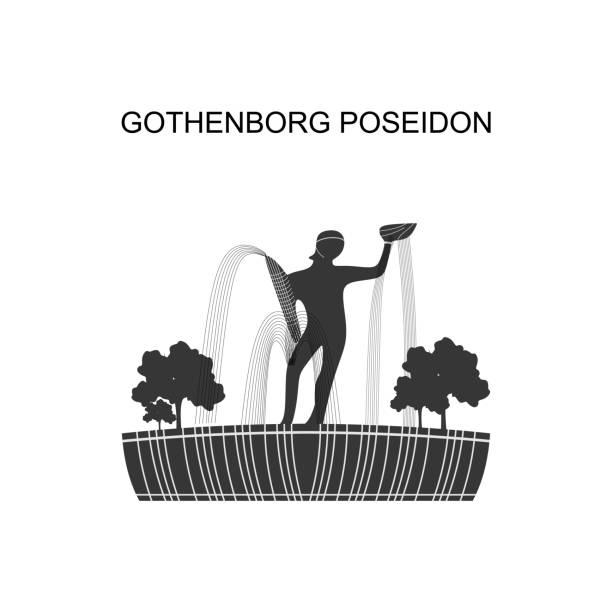 bildbanksillustrationer, clip art samt tecknat material och ikoner med stadsbildens vy i sverige med poseidon-staty. poseidon av carl milles är ett av göteborgs mest kända landmärken. beläget högst upp på huvudboulevarden avenyn vid torget götaplatsen - gothenburg