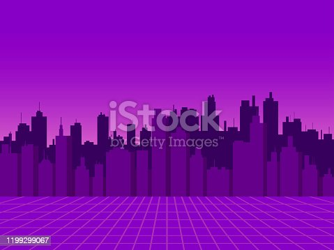 Cityscape. View of the night city with skyscrapers in the style of the 80s, retro futurism, sci-fi city silhouette. Vector illustration