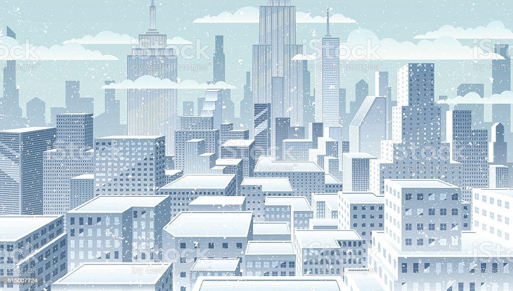 冬の街並み ベクターアートイラスト