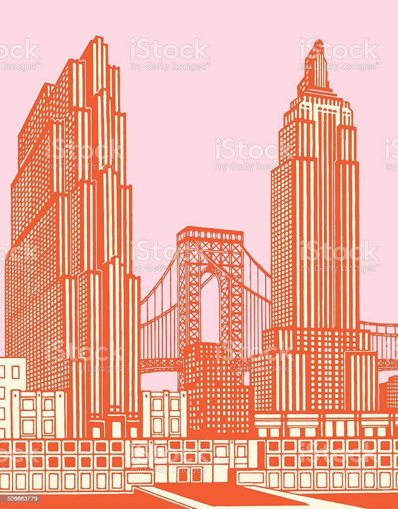 Cityscape With Bridge vector art illustration