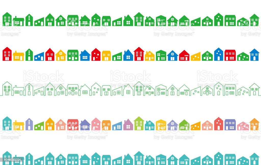 カラフルな家と街並み。 - アイコンのロイヤリティフリーベクトルアート