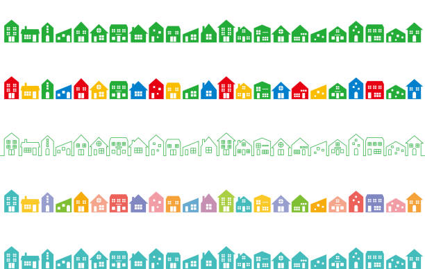 cityscape with colorful houses. set of various colorful houses. town stock illustrations