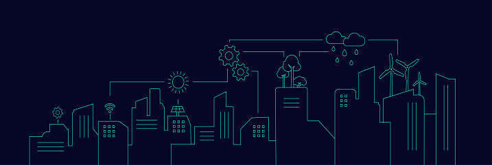 Cityscape with Infrastructure, Smart city concept, Smart city Infographic, Vector