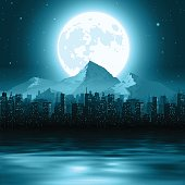 Vector illustration of a cityscape with mountains and the moon on the horizon.