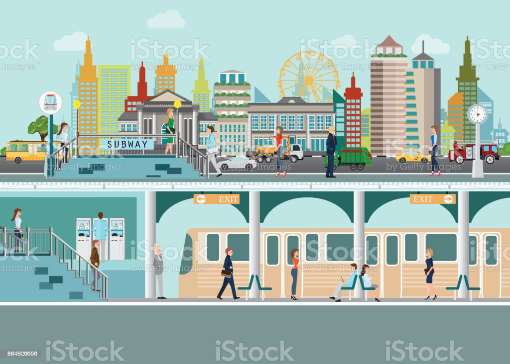 Cityscape with subway train station platform  under city street with people enter subway station vector art illustration