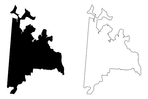 Ciudad del Este City (Republic of Paraguay, Alto Parana Department) map vector illustration, scribble sketch City of Ciudad del Este map