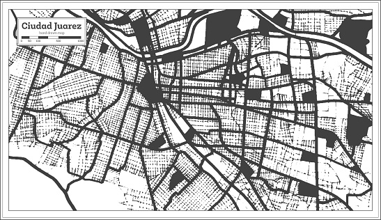 Ciudad Juarez Mexico City Map in Black and White Color in Retro Style. Outline Map.