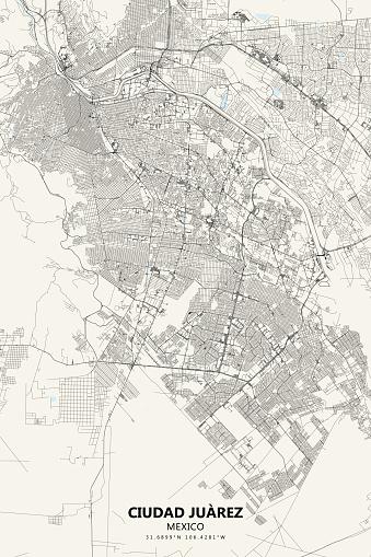 Ciudad Juarez, Mexico Vector Map