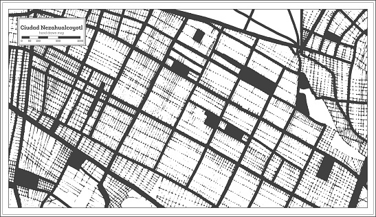 Ciudad Nezahualcoyotl Mexico City Map in Black and White Color in Retro Style. Outline Map.