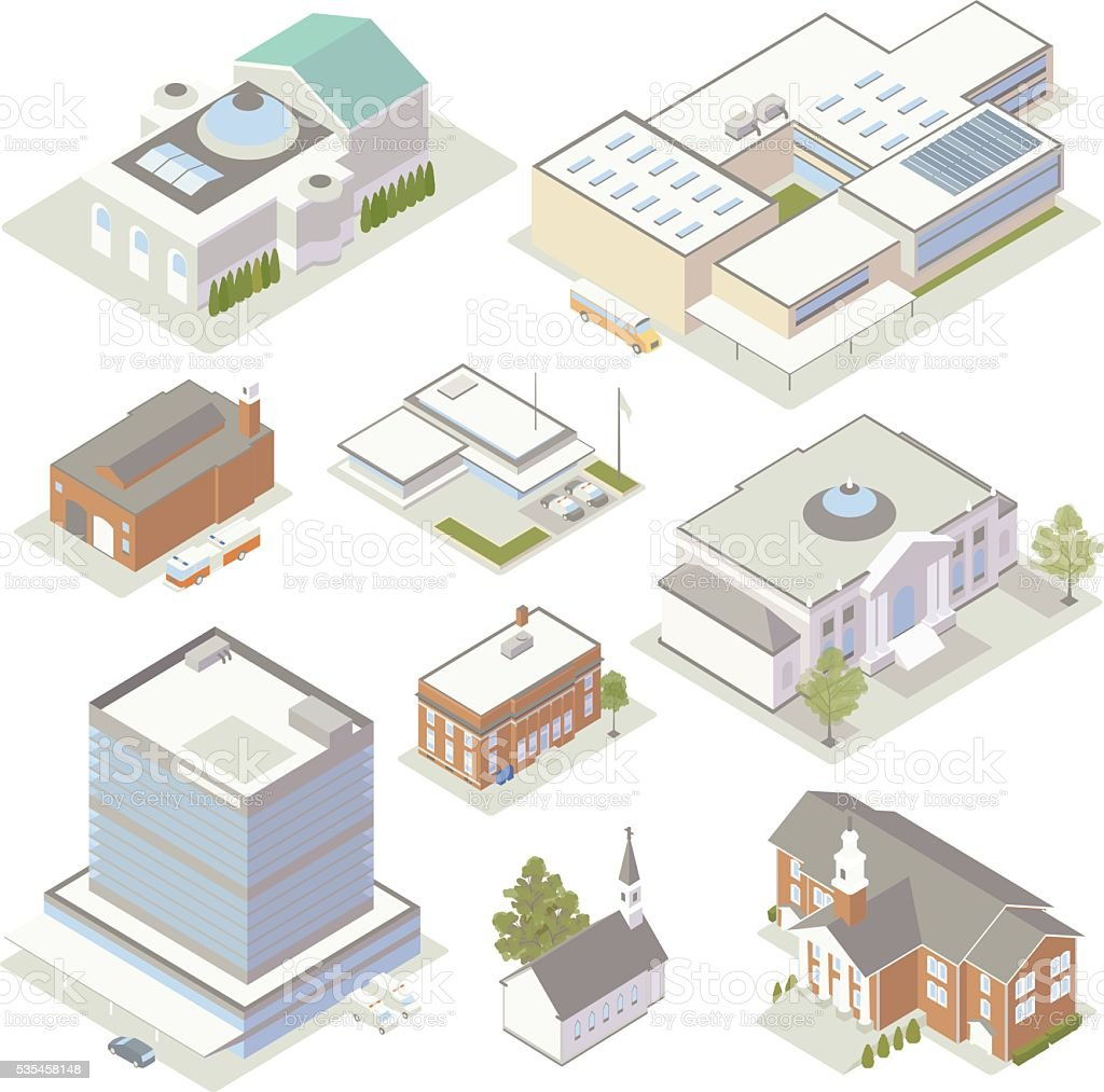 Civic and Community Buildings Illustration royalty-free civic and community buildings illustration stock illustration - download image now