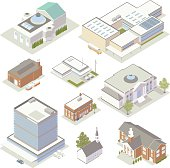 Illustration of isometric community, civic and government buildings, including: a hospital, school, police station, firehouse, museum, post office, library, church, courthouse, opera house or concert hall, and a town hall or city hall.