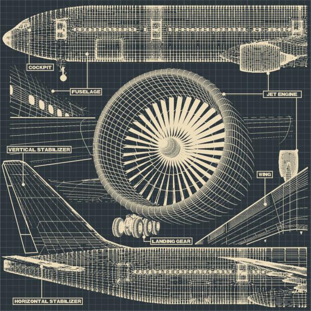 stockillustraties, clipart, cartoons en iconen met civiele vliegtuigen tekening fragment - luchtvaartindustrie