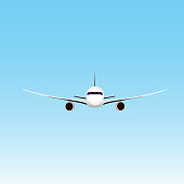 Civil aviation travel passenger air plane vector illustration. Civil commercial airplane flying. Travel plane isolated on background. Cargo transportation airplane vector isolated.