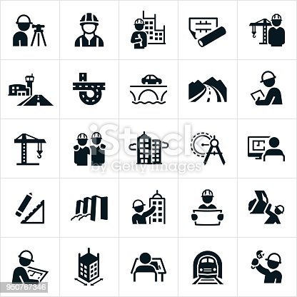 An icon set related to civil engineering. The icons include civil engineers, buildings, blueprints, construction crane, airport runway, road, bridge, inspector, skyscrapers, drawing compass, design, dam and train tracks to name a few.