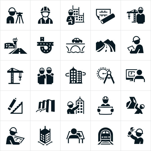 Civil Engineering Icons An icon set related to civil engineering. The icons include civil engineers, buildings, blueprints, construction crane, airport runway, road, bridge, inspector, skyscrapers, drawing compass, design, dam and train tracks to name a few. conceptual symbol stock illustrations