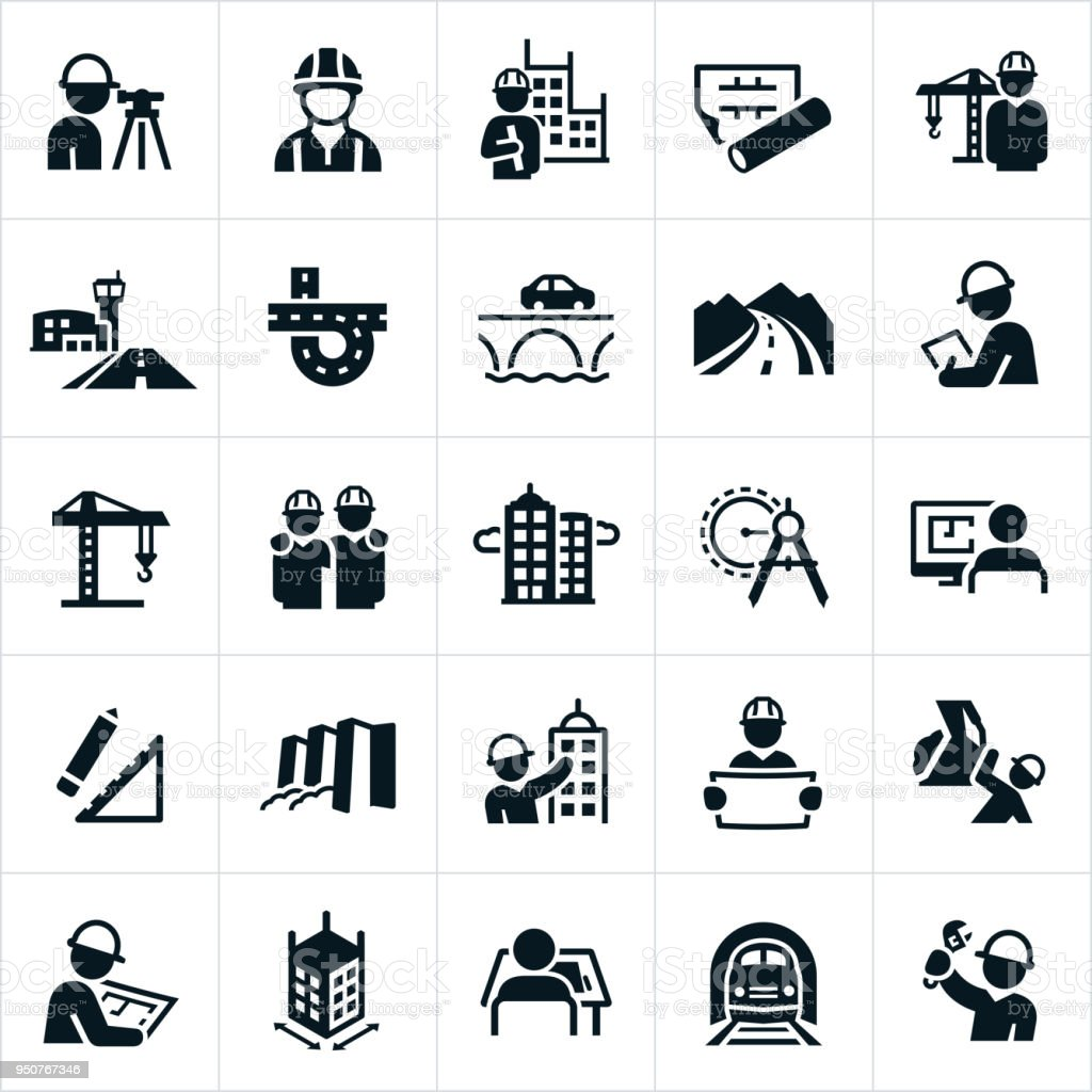 Civil Engineering Icons vector art illustration