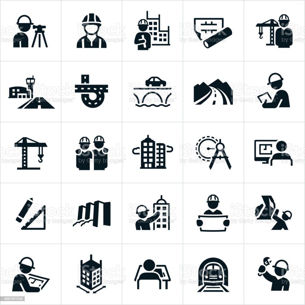 Icônes de génie civil - Illustration vectorielle