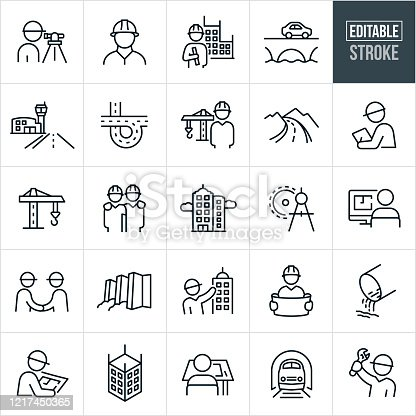 A set of civil engineering icons that include editable strokes or outlines using the EPS vector file. The icons include engineers, surveyor, engineer holding blueprint with building in background, bridge with car driving over it, airport runway, freeway, engineer with construction crane in the background, country road, engineer with hardhat, construction crane, skyscraper, drawing compass, architect, two engineers shaking hands, dam with water, architect point to high rise building, architect holding plans, drainage pipe, person at drafting table, train in tunnel and an engineer holding up a wrench to name a few.