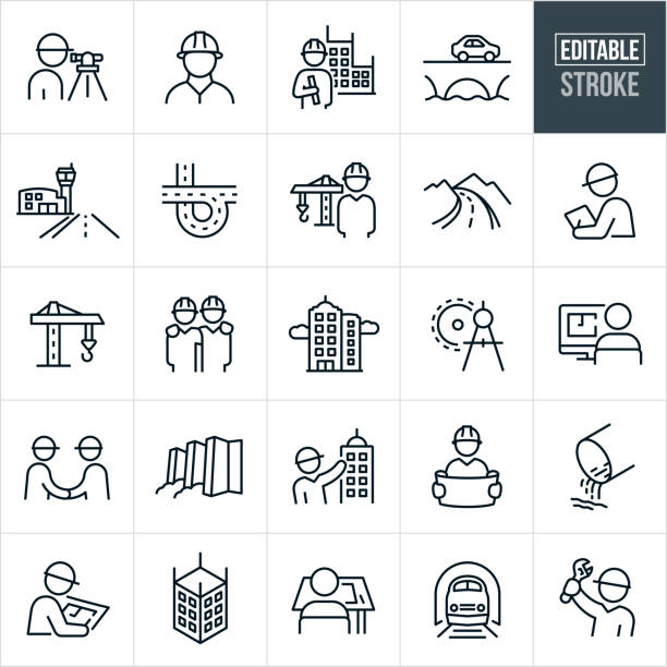 Civil Engineering Thin Line Icons - Editable Stroke A set of civil engineering icons that include editable strokes or outlines using the EPS vector file. The icons include engineers, surveyor, engineer holding blueprint with building in background, bridge with car driving over it, airport runway, freeway, engineer with construction crane in the background, country road, engineer with hardhat, construction crane, skyscraper, drawing compass, architect, two engineers shaking hands, dam with water, architect point to high rise building, architect holding plans, drainage pipe, person at drafting table, train in tunnel and an engineer holding up a wrench to name a few. airport drawings stock illustrations