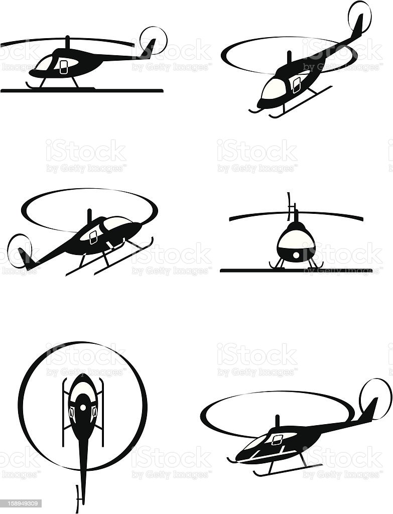 Civil helicopters in perspective vector art illustration
