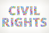 Civil Rights Future and Futuristic Technology Vector Buttons. This royalty free vector illustration features a word made up of education and e-learning buttons of various sizes and colors. Each button features an icon in white and the buttons form a seamless pattern to make up each letter and word. The background of the image is light with a slight gradient. The word is conceptual in nature and include such classic educational icons as school, laptop computer, graduation cap, microscope, students studying and many more. The buttons are red, blue, green, orange in color and the image is very vibrant.