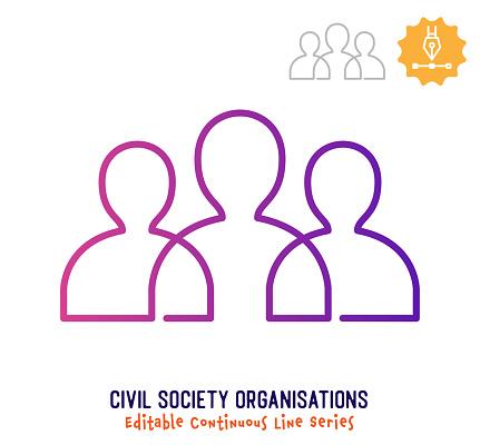 Civil Society Continuous Line Editable Stroke Icon