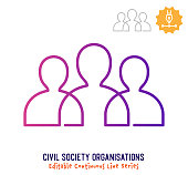 Civil society vector icon illustration for logo, emblem or symbol use. Part of continuous one line minimalistic drawing series. Design elements with editable gradient stroke line.