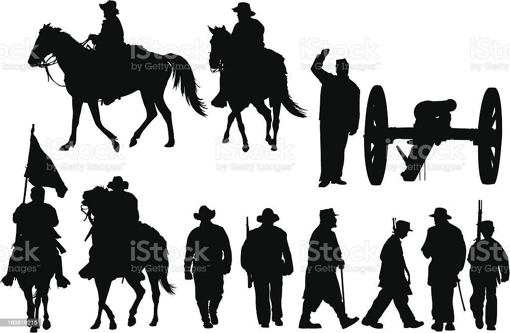 Bürgerkrieg Silhouetten – Vektorgrafik