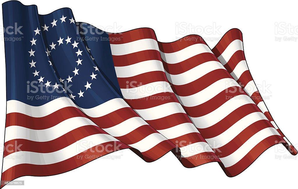 US Civil War Union Flag (37 Star Medallion) vector art illustration