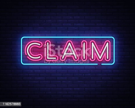 Claim neon sign vector design template. Claim neon text, light banner design element colorful modern design trend, night bright advertising, bright sign. Vector illustration.