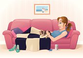 Cartoon illustration of young woman stroking her kitten while relaxing on the sofa. Layered and grouped for ease of use. Download includes EPS8 and hi-res jpeg files.