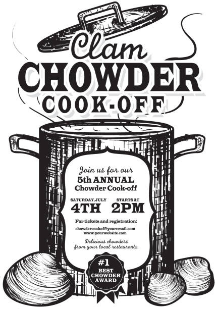 Clam Chowder cookoff event invitation design template Vector illustration of a Clam Chowder invitation design template. Vintage and retro look. Includes cookin pot or crock pot with open lid, clams, woodcut style. White or isolated on white background. Perfect for cook off invitation design template or poster advertisement flyer. Private or corporate party, festival, event, birthday party, fun family event gathering, potluck supper. cooking competition stock illustrations