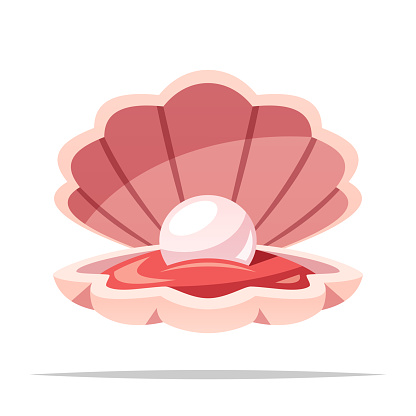 Clam Shell With Pearl Vector Isolated Illustration Stock ...