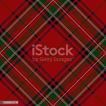 Clan Stewart Scottish tartan plaid seamless diagonal pattern.