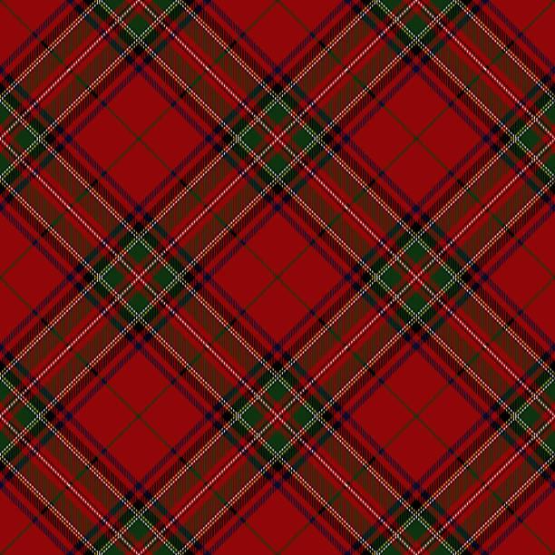 Clan Stewart Scottish Tartan Plaid Clan Stewart Scottish tartan plaid seamless diagonal pattern. alba stock illustrations