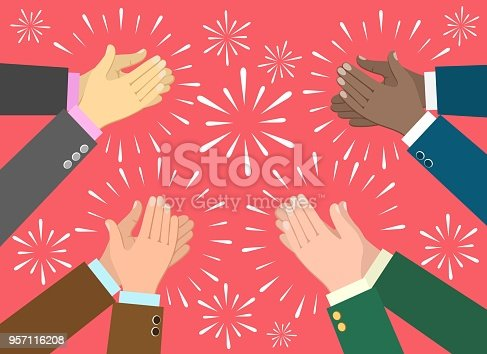 Applause. Clap hands ovation vector illustration, business recognition, congratulation and appreciation concept