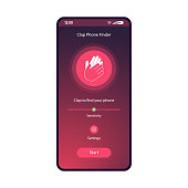Clap phone finder interface vector template. Mobile utility app page purple design layout. Smartphone location search application flat gradient UI. Sensitivity scale, settings, start button on display
