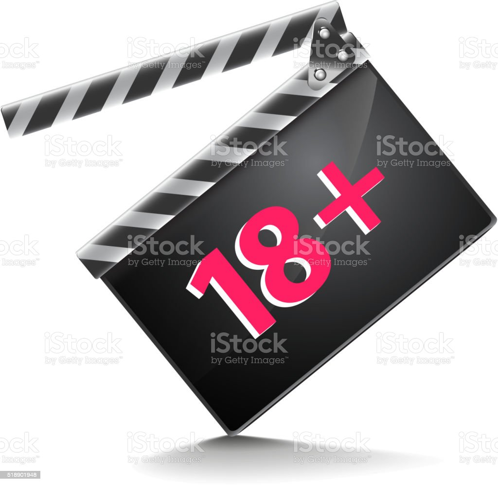 Clapper board adults only isolated on white vector vector art illustration