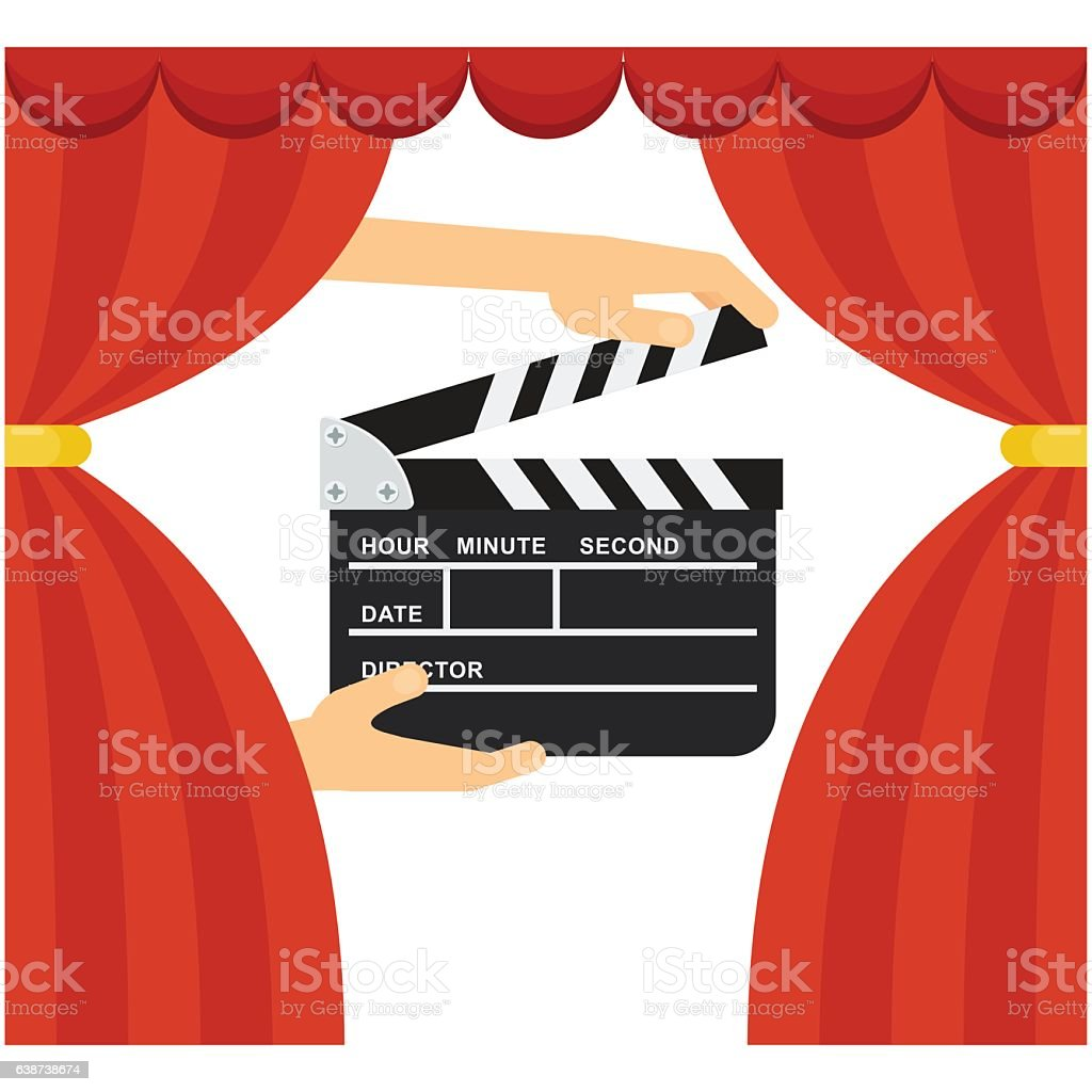 clapperboard and curtains vector art illustration