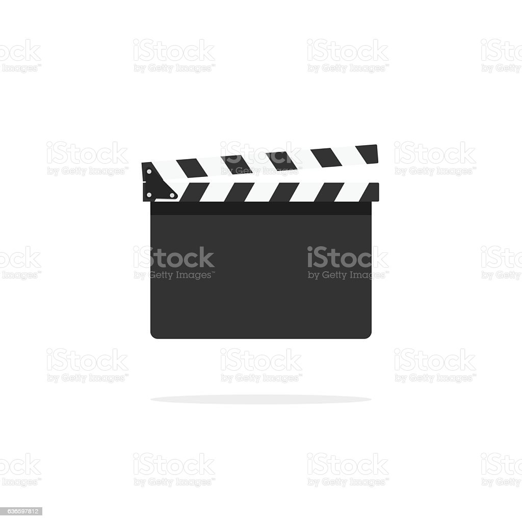 Clapperboard empty template vector icon isolated on white background vector art illustration